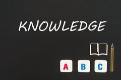 Abc-bokstäver och träflismaterialminiatyr på svart tavla med textkunskap Arkivfoton