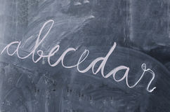 ABC book abecedar on a blackboard Stock Image