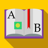 ABC Book icon in flat style. On a yellow background stock illustration