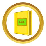 Abc book icon. In golden circle, cartoon style isolated on white background vector illustration