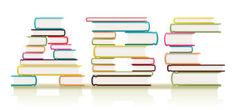ABC Books. Piles of textbooks arranged to form three ABC letters of the alphabet Stock Image