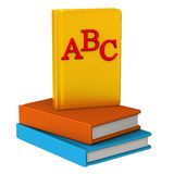 ABC books icon 3d. 3d image - group of books with golden ABC book at the top vector illustration