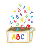 Abc box funny concept of education. Illustration Royalty Free Stock Photos
