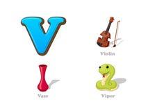 ABC-brief V grappige geplaatste jong geitjepictogrammen: viool, vaas, adder Stock Fotografie