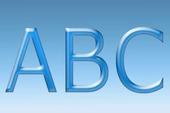 ABC-Brieven ABC-inschrijving op een blauwe gradiëntachtergrond Stock Fotografie