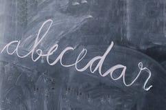 ABC buchen abecedar auf einer Tafel Stockbild