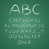 ABC-Buchstaben auf einer Tafel Stockfotografie