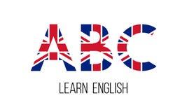 ABC-Buchstaben mit britischer Flagge, lernen englisches Konzept lizenzfreie abbildung