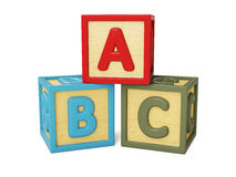 ABC building blocks. ABC alphabet wooden building blocks with letters isolated on white royalty free illustration