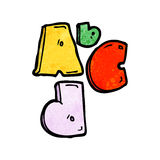 Abc cartoon symbol. Retro cartoon with texture. Isolated on White Royalty Free Stock Images