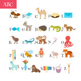 ABC. Cartoon vocabulary for education. Children alphabet with cu. Te cartoon animals and other funny elements. Vector illustration Royalty Free Stock Photos