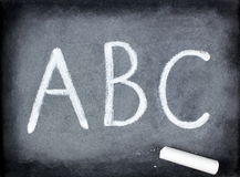 ABC and chalk - blackboard. ABC and chalk on blackboard Royalty Free Stock Photography