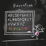 Abc chalk on blackboard. Abc, letters and numbers set. Chalk on blackboard, educational doodle style vector illustration Royalty Free Stock Images