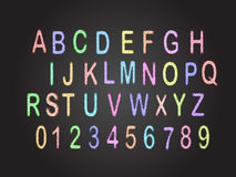 ABC chalk board. Colored chalk ABC alphabates and 0123 no. on blackboard Royalty Free Stock Images