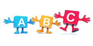 ABC character, colored cubes. On white background royalty free illustration