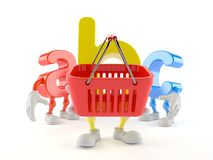 ABC character holding shopping basket Royalty Free Stock Photos