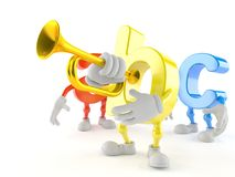 ABC character playing the trumpet. On white background vector illustration