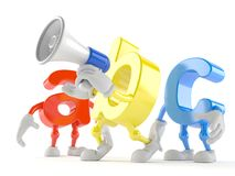 ABC character speaking through a megaphone. On white background royalty free illustration