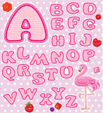 ABC - Childish alphabet - letters are made of pink. Lace and ribbons  - version for baby girl Royalty Free Stock Photography