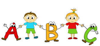 ABC and children Royalty Free Stock Image