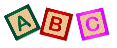 ABC Childs Wooden Blocks. Wooden blocks with the letters ABC over a white background Stock Photo