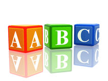 Abc color cubes. 3d colorful cubes with letters abc with reflection royalty free illustration