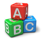 ABC color cubes. Back to school and education concept: ABC color glossy cubes with letters isolated on white background Stock Image