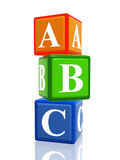 Abc color cubes heap. 3d colorful cubes with letters abc with reflection vector illustration