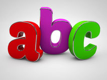 ABC colored alphabet letters 3d render. Illustration Royalty Free Stock Image