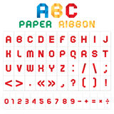 ABC colored font from paper tape Royalty Free Stock Photo