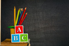 ABC and colored pencil Stock Photos