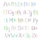 ABC Colorful hand drawn alphabet. Colorful hand drawn alphabet made in vector. ABC for your design. Easy to use and edit letters Stock Photos