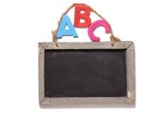 ABC con la tarjeta de tiza Fotos de archivo