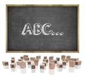 ABC concept on blackboard with wooden frame and Royalty Free Stock Photos