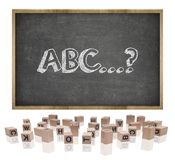 ABC concept on blackboard with wooden frame and Stock Photos