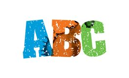 ABC Concept Stamped Word Art Illustration. The word ABC concept printed in letterpress hand stamped colorful grunge paint and ink. Vector EPS 10 available Stock Illustration