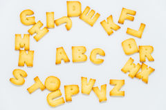 ABC cracker in circle of alphabet cracker with white background. 1 Royalty Free Stock Photo