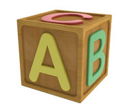 Abc cube. Wooden toy cube learn to read royalty free illustration