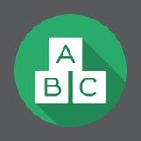 ABC cube l'icône plate Bouton coloré rond, signe circulaire de vecteur avec le long effet d'ombre Photographie stock libre de droits
