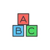 ABC cube l'icône remplie d'ensemble, ligne signe de vecteur, pictogramme coloré linéaire Photo stock