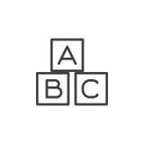 ABC cube la ligne icône, signe de vecteur d'ensemble, pictogramme linéaire de style d'isolement sur le blanc Image stock