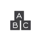 ABC cube le vecteur d'icône, signe plat rempli, pictogramme solide d'isolement sur le blanc Photo libre de droits