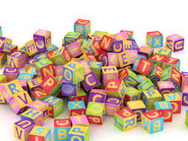 ABC cube pile. Many abc education cube scattered on pile in white background Stock Photos