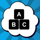 ABC cube sign illustration. Vector. Black icon in bubble on blue. Pop-art background with rays vector illustration