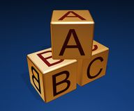Abc cubes. 3d rendered ABC Cubes on blue background Stock Photos