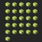 ABC Cubes (green color). Alphabet on the cubes (isometric royalty free illustration