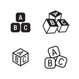 Abc cubes icons. Set, black on a white background Stock Photography