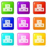 ABC cubes icons 9 set. ABC cubes icons of 9 color set vector illustration royalty free illustration
