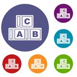 ABC cubes icons set. In flat circle red, blue and green color for web Stock Photos