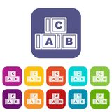 ABC cubes icons set flat. ABC cubes icons set vector illustration in flat style In colors red, blue, green and other Royalty Free Stock Images
